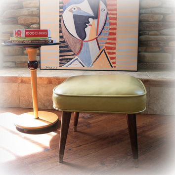 1950s VINTAGE OTTOMAN Mid Century Modern Living Room Footstool in Light Creamy Mustard Yellow Faux Leather with Walnut Wood Legs Atomic Home
