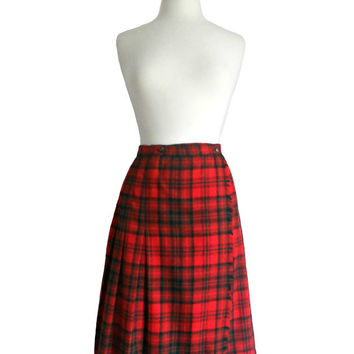 Vintage Plaid Skirt Red Pleated Wool in Wrap Design Detail - Midi Skirt - Size 12 by Century Boston - Union Made