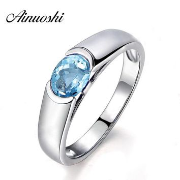 AINUOSHI Pure 925 Silver Sky Blue Natural Topaz Ring 1.5 Carat Oval Cut Natural Topaz Ring Classical Engagement Wedding Ring