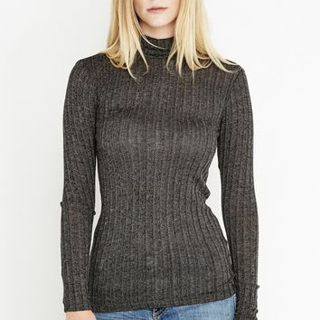 Charcoal Love Me Do Ribbed Knit Turtleneck Sweater