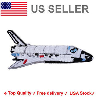 Space Shuttle Iron on / sew on Embroidery Patch Space explorer Badge Nasa Embroidered Airoplane Applique Motif