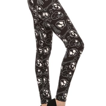 Women's Skull Bones Leggings Black/White: OS/PLUS