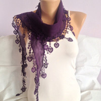 Purple Scarf - Deep Purple Lace Scarf - Heart Scarf - Summer Fashion Scarf