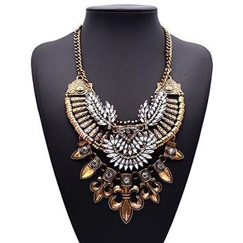 Colorful Rhinestone Crystal Costume Jewelry Gift Vintage Charm Necklace For Womens(gold)
