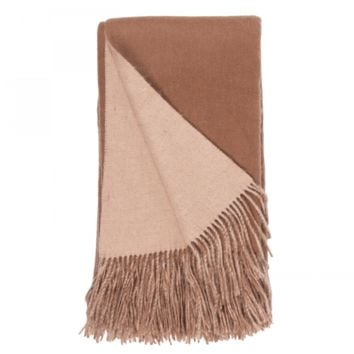 Camel and Apricot Wool / Cashmere Double-Faced Throw
