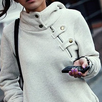 Hooded Gray Fleece Sweater