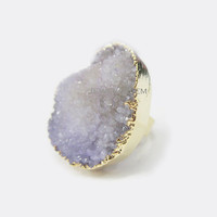 Druzy Ring Purple Gold Geode Violet Lilac Amethyst Soft Lavender Gemstone Crystal Raw Quartz Agate Drusy Mineral Rustic Big Stone Ring