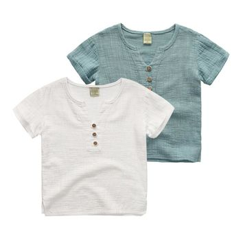 Kids short-sleeve T-shirts cotton linen children's clothing 2017 summer v-neck 2-8y baby boys t shirt solid color casual fashion