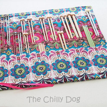 Roll Up Knitting Needle Case: Moroccan Floral