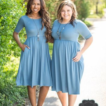 Titanium Blue Empire Waist Dress