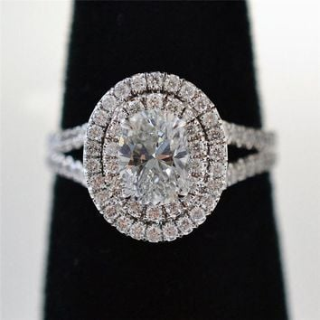 Luxury oval 100% Soild 925 Sterling Silver ring 1ct Sona 5A zircon Stone cz Engagement Wedding Band Ring for women men Jewelry