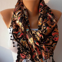 Women  Scarf - Headband Necklace Cowl with Lace - Multicolor/75694833