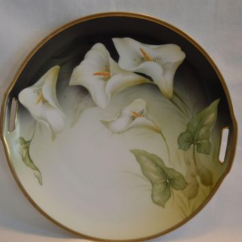 German Porcelain Cake Plate ~Calla Lilly Motif ~Reinhold Schlegelmilch - R.S. Prussia (Germany) - ca 1917 - 1920s
