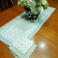 Vintage Ivory and Blue table runner or dresser scarf with hand crochet lace border and one napkin for home decor by MarlenesAttic
