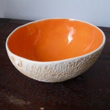 Cantalope bowl by vegetabowls on Etsy
