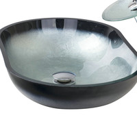 Modern Bathroom Sink Oval Artistic Tempered Glass Vessel Vanity Sink Bowl Basin tree139