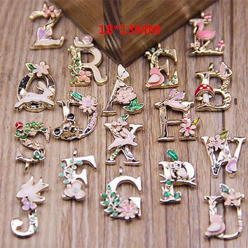 78pcs/lot Fashion 26 Letters Enamel Alloy alphabet Pendant  ABC Words tag Charms Jewelry DIY accessories 18*13mm free shipping