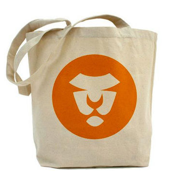 Orange Lion Tote, Tote Bag, Circles, Orange, Artsy, Natural, Earth Day, Eco, Shopping, Art on Both Sides, Fall Colors
