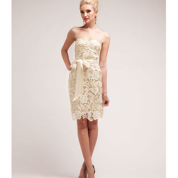 Gold & Nude Lace Cocktail Dress 2015 Homecoming Dresses