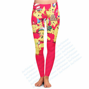 2 Styles Custom Made Pokemon Pikachu 3D Sublimation Print Milk Silk Ninth Leggings Fitness Workout Pants Plus Size