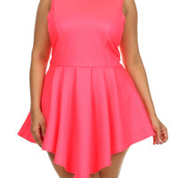 Plus Size Designer Quilted Diamond Pattern Skater Leather Pink Dress, Plus Size Clothing, Club Wear, Dresses, Tops, Sexy Trendy Plus Size Women Clothes