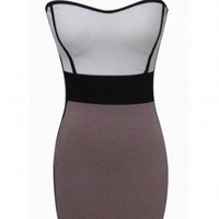 Double Panel Strapless Bodycon Dress with Zipper Back