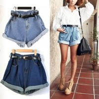 Lady Women Retro Girl High Waisted Oversize Crimping Boyfriend Jeans Shorts Pant Light Blue M