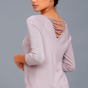 Allan Mauve Lace-Up Sweater Top