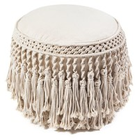 Macrame Round With Tassels Pouf - Traditional - Footstools And Ottomans - by Anji Mountain