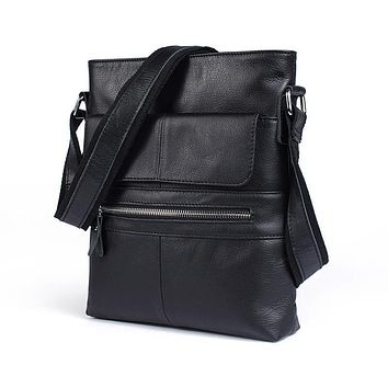Cow Leather Men's Shoulder Bag Messenger Bag Large Casual ipad Flap Men's Genuine Leather Bags Crossbody Bags