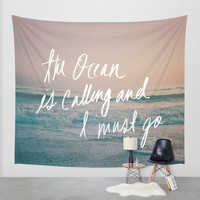 The Ocean is Calling by Laura Ruth and Leah Flores Wall Tapestry by Leah Flores