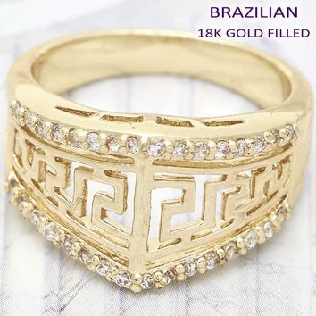 Gold Layered Women Greek Key Multi Stone Ring, with White Cubic Zirconia, by Folks Jewelry