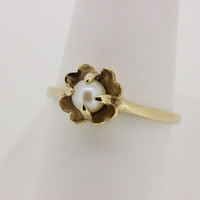Vintage Engagement Ring Pearl Ring Estate Ring 10k Yellow Gold Ring Dainty Ring Promise Ring Pearl Engagement Ring Gemstone Ring Size 7.75