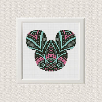 Mickey Minnie Cross Stitch Pattern, mandala Mickey Minnie Silhouette Flowers Disney Counted Cross Stitch Chart Modern Decor, Download PDF