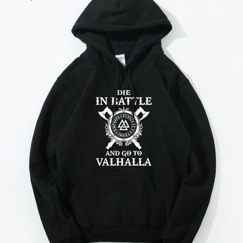 Odin Vikings Hoodie Men Die In Battle And Go To Valhalla Hoodies Mens 2018 New Brand Winter Autumn Son of Odin Hooded Sweatshirt