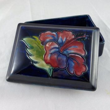 Moorcroft Hibiscus Box, Vintage Moorcroft Hibiscus Covered Box Dark Blue, Moorcroft Pottery Trinket Box, English Pottery Box