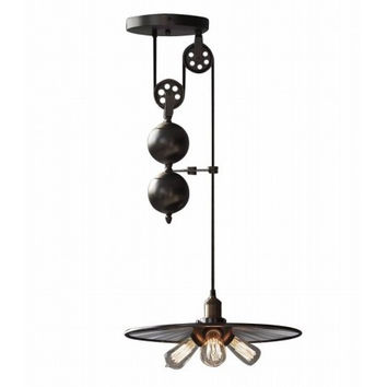 Countryside vintage industrial pulley bar counter edison pendant lamp light