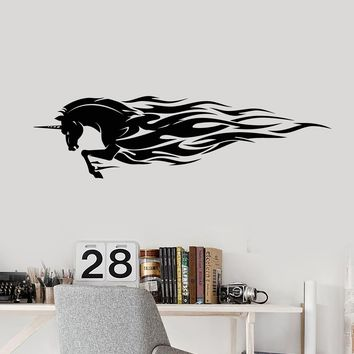 Vinyl Wall Decal Fairy-Tale Unicorn Forks Of Flame Stickers (2386ig)