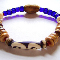 Men's DZI Evil Eye Bone, Blue Czech Glass, Buffalo Bone Bracelet, Sz. 9, OOAK, Handmade Jewelry on Etsy, Unique Gift, Gift for Him, Birthday