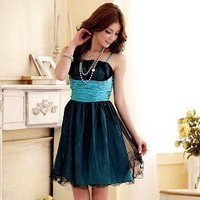Fashionable Mini-wave Side Gauze Sling Dress Blue