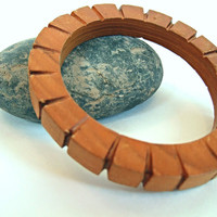 Vintage Brown Carved Wooden Bangle Bracelet With Dentil Carving