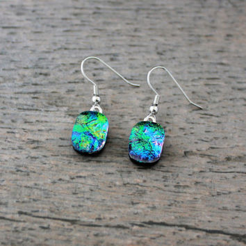 Blue Green Pink Fused Dichroic Glass Drop Earrings, Dichroic Jewelry, Dichroic Earrings, Fused Glass Earrings, Blue Earrings