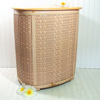 Vintage OverSized Salmon Pink Wicker Clothes Hamper - Retro Mid Century Large Pearl Wick - Shabby Chic Chippy Pale Peach Paint Laundry Bin
