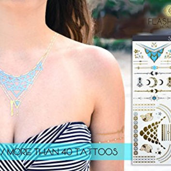 Metallic Tattoos Gold, Silver, Black & Blue, Best Temporary Color Body Tattoos -4 Sheets Pack of Most Popular & Stylish Designs- Jewelry, Bracelets, Bands, Necklace, Tribal Style, Mandalas, Style 1