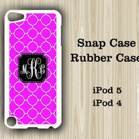 Stylish Purple Pattern Monogram  iPod Touch 5 and iPod Touch 4 Rubber Case or Plastic Case