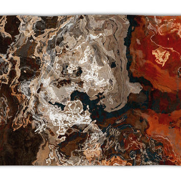 Abstract Art plush fleece throw, 50x60 and 60x80, coral fleece blanket in brown and rust, Hammered Copper