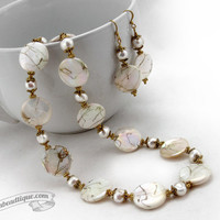 Ivory white mother of pearl jewelry set white necklace bridal jewelry white earrings ivory necklace wedding gifts for her shell necklace