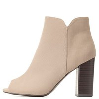 Qupid Chunky Heel Peep Toe Booties by