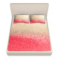DiaNoche Designs Artistic Decorative Designer Unique Bed Sheets | Monika Strigel's Gatsby Coral Gold