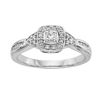 I Promise You Diamond Tiered Halo Engagement Ring in Sterling Silver (1/4 Carat T.W.) (White)